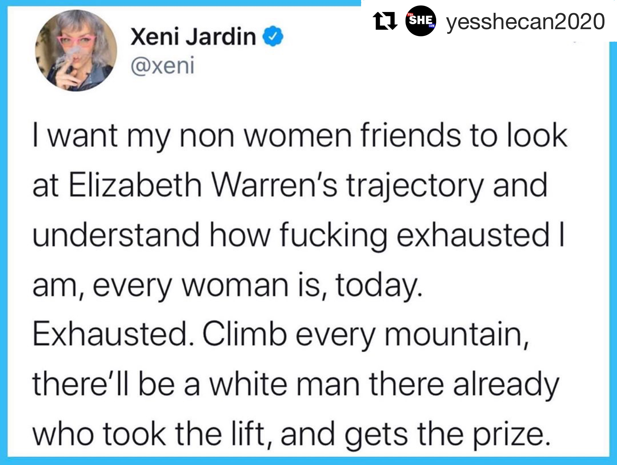 tweet about Elizabeth Warren by Xeni