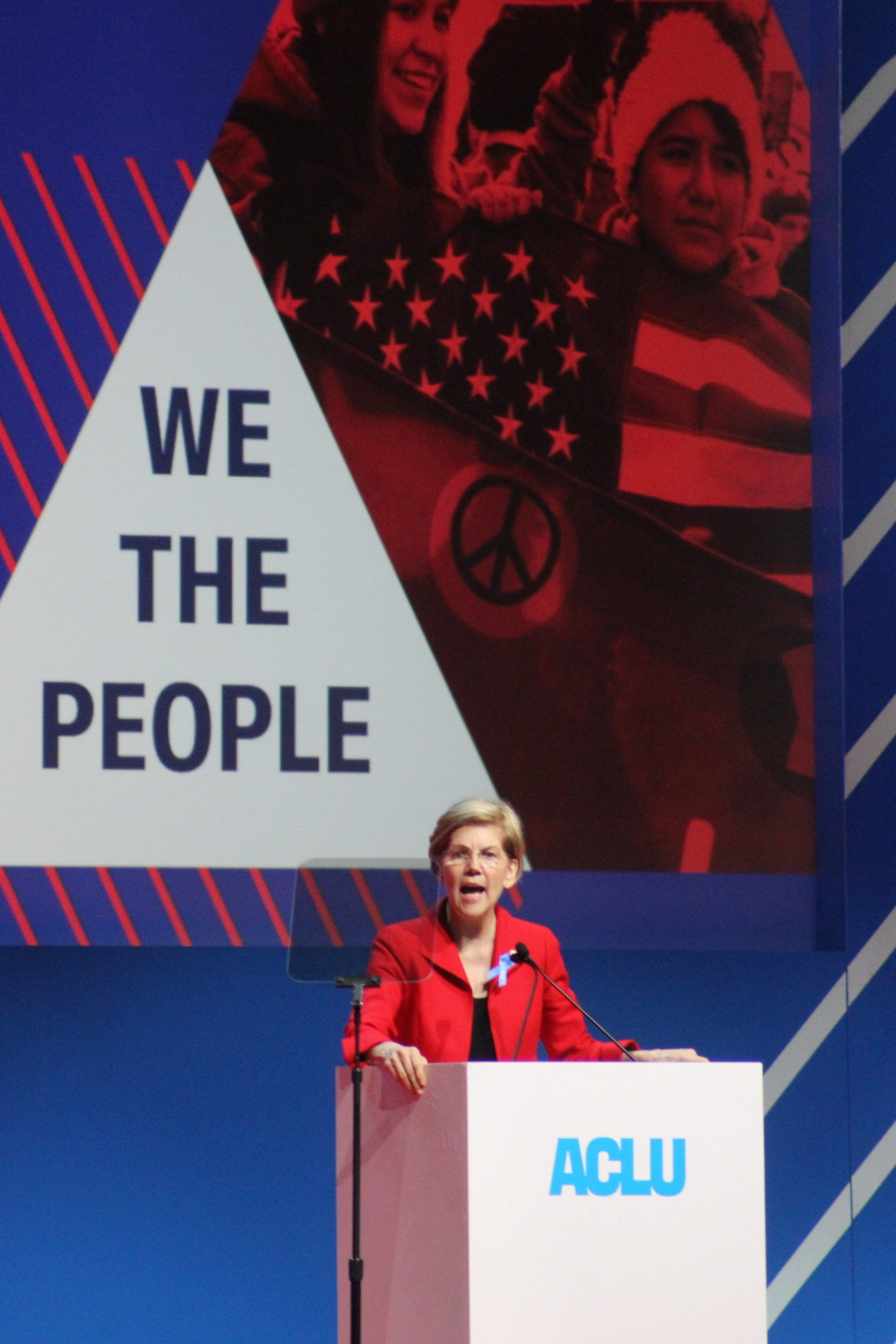 women in politics- Elizabeth Warren at the ACLU conference in 2018